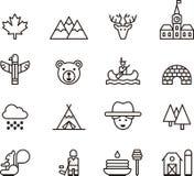 Sistema de los iconos de Canadá del esquema Foto de archivo libre de regalías