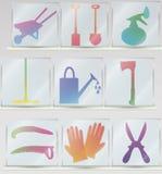 Sistema del icono de las herramientas que cultivan un huerto Foto de archivo libre de regalías