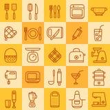 Sistema de los iconos de diversos tipos de cookware Imagen de archivo