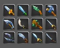 Sistema de los iconos de la decoración para los juegos Colección de armas medievales stock de ilustración