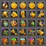 Sistema de los iconos de la decoración para los juegos Recompensa, tesoro, logro y símbolo de oro Imagenes de archivo