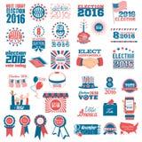 Sistema de los iconos 2016 de la elección Imágenes de archivo libres de regalías