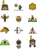 Sistema de los iconos de la India del nativo americano Fotos de archivo libres de regalías