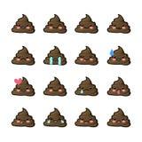 Sistema de los iconos de la mierda, caras sonrientes, símbolo, emoticons, ejemplo Fotografía de archivo libre de regalías