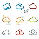 Sistema de los iconos 3 de la nube foto de archivo