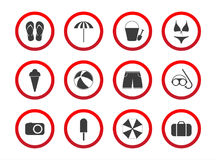 Sistema de los iconos de la prohibición del viaje, muestras de la restricción de la playa, icono s Imágenes de archivo libres de regalías