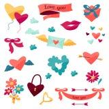 Sistema de los iconos de la tarjeta del día de San Valentín y de la boda Imágenes de archivo libres de regalías