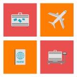 Sistema de los iconos, de las muestras y del símbolo planos del aeropuerto Ilustración del vector Foto de archivo