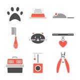 Sistema de los iconos de los animales domésticos, símbolos del gato Imágenes de archivo libres de regalías