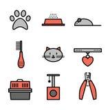 Sistema de los iconos de los animales domésticos, símbolos del gato Imagenes de archivo