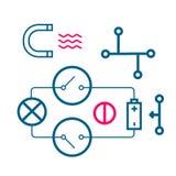 Sistema de los iconos de procesos físicos Imagenes de archivo
