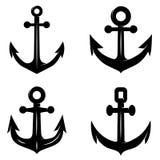 Sistema de los iconos del ancla aislada en el fondo blanco Diseñe el elemento para el logotipo, etiqueta, emblema, muestra stock de ilustración
