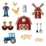 Sistema de los iconos del color de la granja, elementos del diseño aislados en el fondo blanco Fotografía de archivo
