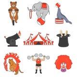 Sistema de los iconos del color del circo, elementos del diseño en el fondo blanco Estilo plano Imagen de archivo libre de regalías