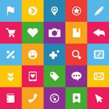 Sistema de los iconos del color para el web Fotografía de archivo