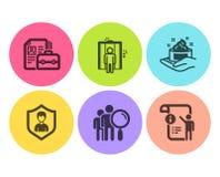 Sistema de los iconos del cuidado de la agencia de seguridad, del elevador y de piel Gente de la búsqueda, muestras de la vacante ilustración del vector