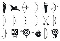 Sistema de los iconos del deporte del tiro al arco, estilo simple ilustración del vector