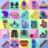 Sistema de los iconos del equipo de la snowboard, estilo plano stock de ilustración