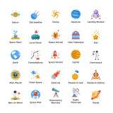 Sistema de los iconos del espacio y del universo stock de ilustración