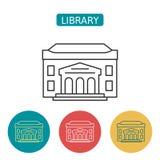 Sistema de los iconos del esquema del edificio de biblioteca stock de ilustración
