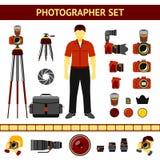 Sistema de los iconos del fotógrafo - cámaras, trípode Imágenes de archivo libres de regalías
