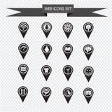 Sistema de los iconos del indicador del mapa para el sitio web y la comunicación Fotografía de archivo