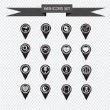 Sistema de los iconos del indicador del mapa para el sitio web y la comunicación Foto de archivo