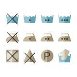 Sistema de los iconos del lavadero de la instrucción, símbolos que se lavan Imagen de archivo libre de regalías