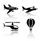 Sistema de los iconos del transporte - aviones Fotografía de archivo