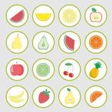 Sistema de los iconos del vector, etiquetas engomadas de las frutas stock de ilustración