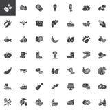 Sistema de los iconos del vector de la comida y de los bocados libre illustration