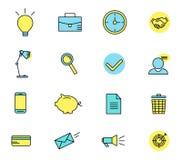 Sistema de los iconos del web para el negocio, finanzas y stock de ilustración