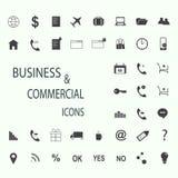 Sistema de los iconos del web para el negocio, las finanzas y la comunicación Fotos de archivo