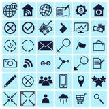 Sistema de los iconos del web para el negocio, las finanzas y la comunicación stock de ilustración