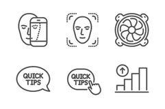 Sistema de los iconos extremidades, detección de la cara y de la biométrica rápidas de la cara Guía de QuickStart, fan del ordena stock de ilustración