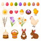 Sistema de los iconos felices lindos de Pascua ilustración del vector