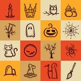 Sistema de los iconos gráficos retros de Halloween Imagen de archivo libre de regalías