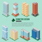 Sistema de los iconos isométricos de los edificios altos 3d para el edificio del mapa Concepto 6 de las propiedades inmobiliarias Imagen de archivo libre de regalías