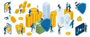 Sistema de los iconos de Isometry para proteger el dinero y la riqueza de los hombres de negocios, inversores, banqueros, servici ilustración del vector