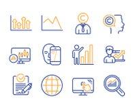 Sistema de los iconos de la biométrica del globo, de línea carta y de la cara Copyrighter, flechas superiores y muestras de la ca stock de ilustración