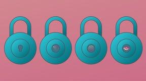 Sistema de los iconos de la cerradura del vector de la variación Escáner del nfc de los wi fi de la huella dactilar del ojo r Neg stock de ilustración