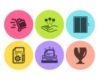 Sistema de los iconos de la documentación, de la máquina de escribir y de la elevación Carro de la consolidación, del empuje y mu ilustración del vector