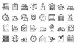 Sistema de los iconos de la exportación de las mercancías, estilo del esquema stock de ilustración