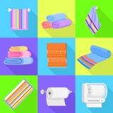 Sistema de los iconos de la toalla, estilo plano ilustración del vector