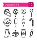 Sistema de los iconos de Lineart de postres y de dulces Imagen de archivo