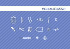 Sistema de los iconos médicos stock de ilustración
