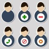 Sistema de los iconos masculinos del usuario Fotografía de archivo