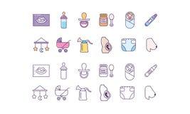 Sistema de los iconos de maternidad Imagenes de archivo