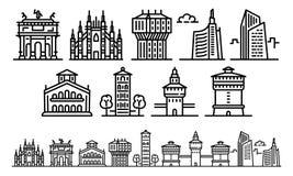 Sistema de los iconos de Milán, estilo del esquema ilustración del vector