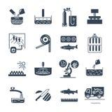 Sistema de los iconos negros comida, proceso de producción de la comida, pescado, cocinando stock de ilustración